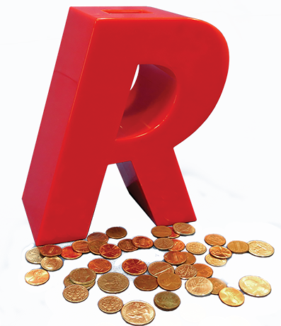 r bank with coins